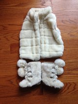 Faux fur vest and matching boots in Naperville, Illinois
