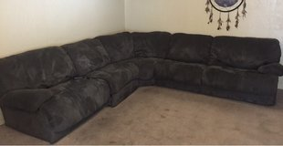microfiber sectional couch with 2 recliners and queen size bed inside in Lawton, Oklahoma