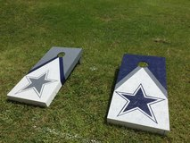 Cornhole boards with lights in Okinawa, Japan