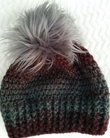 Crochet faux fur pom pom hats with your school color in Rolla, Missouri