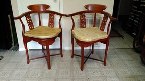 Pair of Chinese Carved Solid Rosewood Corner Armchairs Set in Kingwood, Texas