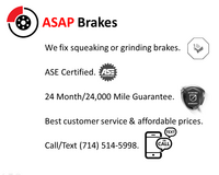 Squeaking or grinding brakes? Call ASAP Brakes to your location in 29 Palms, California