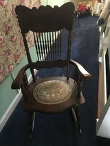 Wood rocker with tapestry seat in Camp Lejeune, North Carolina