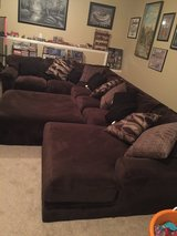 Brown Sectional Couch with Ottoman in Fort Leonard Wood, Missouri