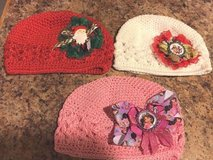 Set of 3 Adorable Baby Knitted/Crochet Beanie Hats W/ Christmas & Princess Bows in Bartlett, Illinois