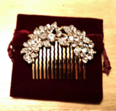 Bridal wedding jewelry crystal rhinestone floral hair comb pin gold and clear in Fort Campbell, Kentucky