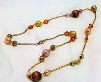 "Gold Tone Multi Color Bead Chain Strand 32"" Orange Green Brown Purple Pendant in Kingwood, Texas"