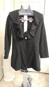 Frilly Black Wool Coat XL fits like a Small in CyFair, Texas