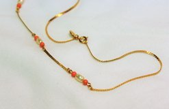 "NWOT Gold Tone AVON Orange Ivory Coral Bead Chain Strand Necklace Statement 14"" in Kingwood, Texas"