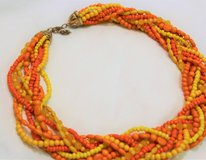 "Gold Tone Orange Yellow Chunky Twisted Bead Chain Strand Necklace Statement 18"" in Kingwood, Texas"