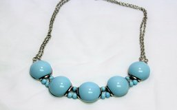 """Silver Tone Blue Turquoise Sky Chunky Plastic Bead Chain Strand Necklace 16"""" in Kingwood, Texas"""