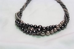 "Retro RMN Gray Silver Smoke Twist Chunky Plastic Bead Chain Strand Necklace 16"" in Kingwood, Texas"
