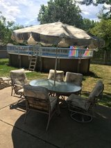Patio set 7 pieces table, chairs, umbrella in Shorewood, Illinois