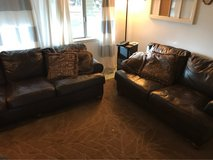 Brown leather sofa and love seat in Yucca Valley, California