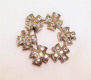 Silver Tone Flower Floral Gem Stone Cross Crystal Hat Brooch Lapel Pin in Kingwood, Texas