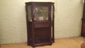 Carved Oak Gothic Display Cabinet free delivery in Lakenheath, UK