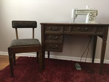 Vintage Midcentury Modern Danish Singer sewing machine cabinet and chair in Glendale Heights, Illinois