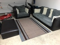 NEED GONE ASAP!!!Price Reduced! Living room set (Couch/Sofa chair/Ottoman/Rug) in Fort Leonard Wood, Missouri