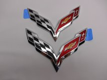 New C7 Corvette Chrome or Black Bumper Emblem Set 2014-2018 in Plainfield, Illinois
