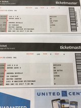 Two tickets to Andrea Bocelli Concert 12-6-17 in Westmont, Illinois