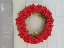 Faux Pink Rose with Leaves Wreath Handmade in Naperville, Illinois
