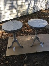 """2 round end tables. 18"""" round. 24 1/2 tall. White stressed in The Woodlands, Texas"""