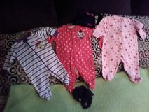 3 footed sleepers baby girl: Minnie mouse with hat and footies, monkey one and hearts, throw bla... in Fort Campbell, Kentucky