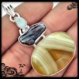 New - Botswana Agate, Black Biwa Pearl and Moonstone 925 Sterling Silver Pendant (Includes a chain) in Alamogordo, New Mexico
