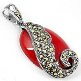 New - Red Coral Swirl Marcasite 925 Sterling Silver Pendant (Includes a chain) in Alamogordo, New Mexico