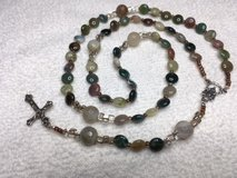 Rosary Moss Agate Beads shaped like Coin Pearls. Neutrals in Kingwood, Texas