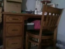 Solid wood vintsge six drawer  desk an chair $75. Call 334'596-5551 in enterprise in Fort Rucker, Alabama