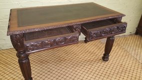 2 Drawer Carved Oak Desk with original Leather top Free Delivery Others Available in Lakenheath, UK