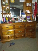 Dresser mirror with selves and a chest of drawers all matching in Fort Rucker, Alabama