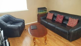 Leather couch set and tables in Fairfield, California