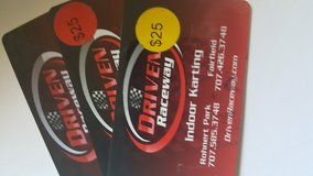 3 $25 Driven Raceway Gift Cards in Vacaville, California