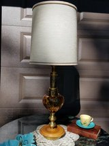 Vintage Amber Glass Table Lamp Wood Base in New Lenox, Illinois