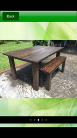 solid wood farm house style table with benches in Camp Lejeune, North Carolina