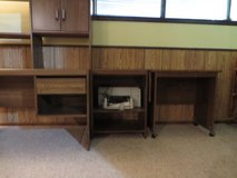 3 Piece Wood Laminate Desk with Hutch, Printer Shelf and Console Table with leaf  LIKE NEW!! in Westmont, Illinois