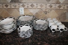 Western Cow print Dishes..  Black & white 39 pcs in Spring, Texas