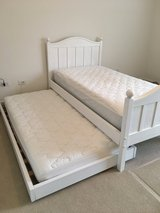Crate & Barrel White Twin Bed with Trundle and Matching Wide Dresser in Lockport, Illinois