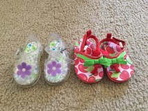 Flower jelly sandals & Carter's cherry flip flops..size 2 in Naperville, Illinois