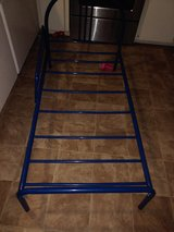 Blue metal toddler bed in Lawton, Oklahoma