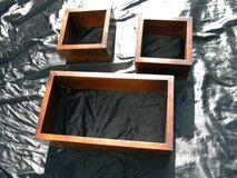 Wooden set of (3) curio stacked wall shelfs in Camp Lejeune, North Carolina