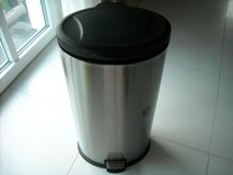 Stainless steel trash can in Ramstein, Germany