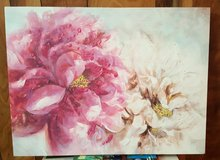 Pink & White Floral Canvas Art in Baytown, Texas