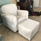 white corduroy rocking chair with ottoman in Camp Lejeune, North Carolina