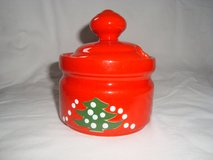 Waechtersbach Christmas Tree Wht Dot SUGAR BOWL with LID Discontinued 1992-2012 in Orland Park, Illinois
