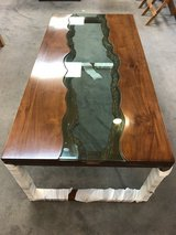 River edge style solid wood coffee table in Okinawa, Japan