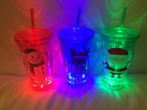 Three large Christmas tumblers new FLASHING LIGHTS in Okinawa, Japan