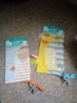 Baby comfort little blankets with tags and dummy holder in Lakenheath, UK